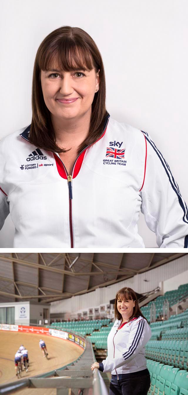 two images of a woman at a cycling centre.