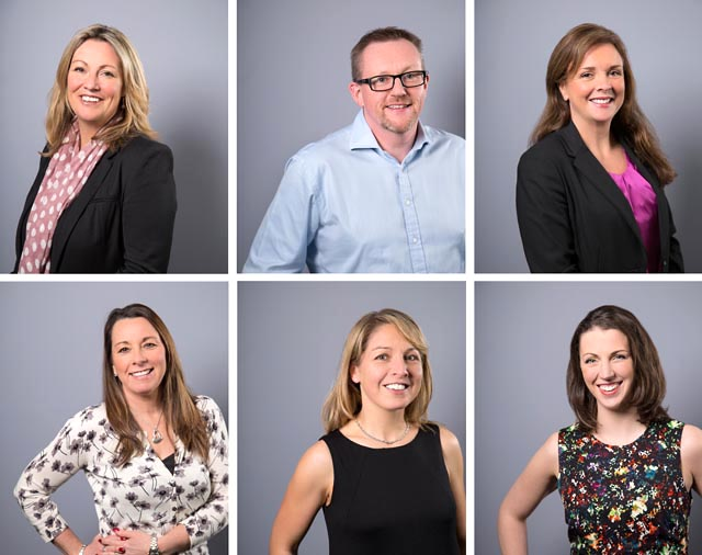 A montage of six images. Headshots of employees against a grey background.