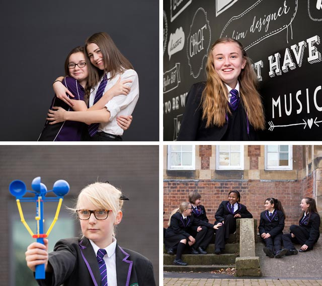 A montage of four images featuring pupils in a school environment.