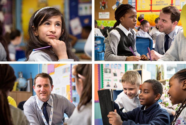 A montage of images of pupils and teachers in a school environment.