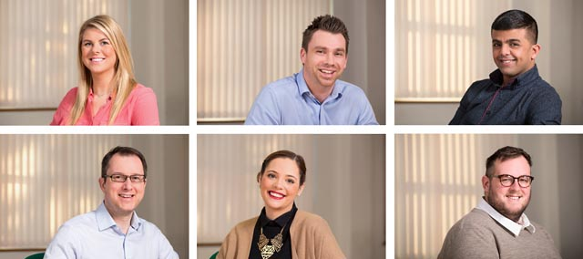 A montage of six images of corporate head shots of employees.