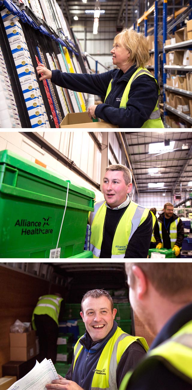 A montage of 3 images. Documentary style shots of a despatch area in a company.