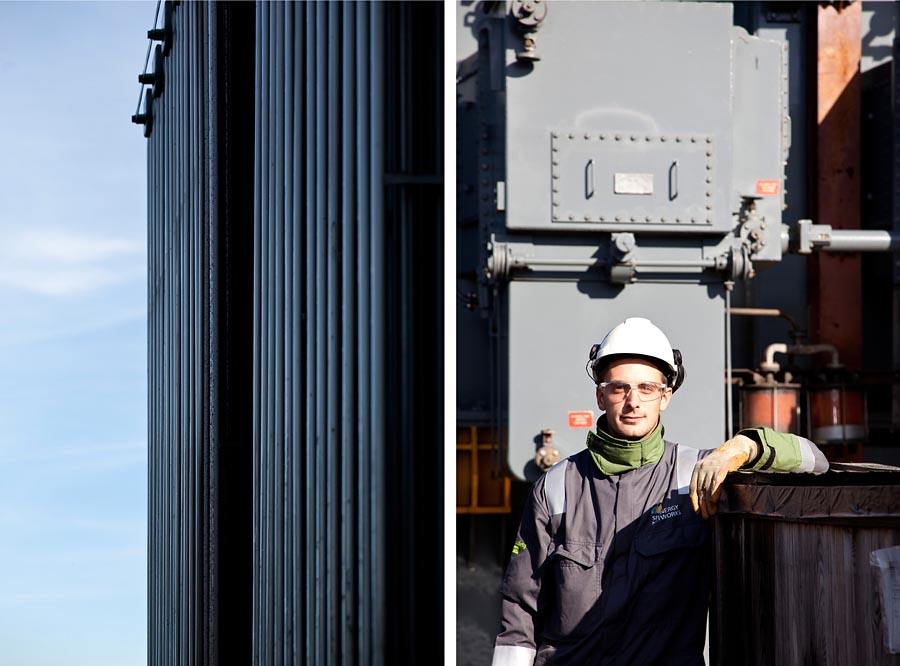 Two images. One of an exterior of a power station and the other of a portrait of a powere station worker against an industrial background.