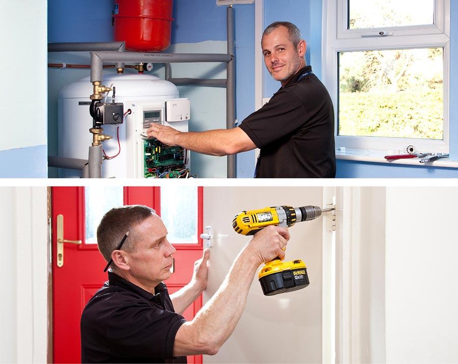 Two images of work men repairing things in houses.