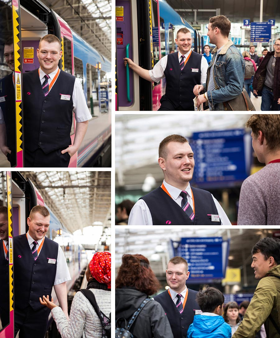 A montage of reportage style images of a railway employee and his day to day activities.