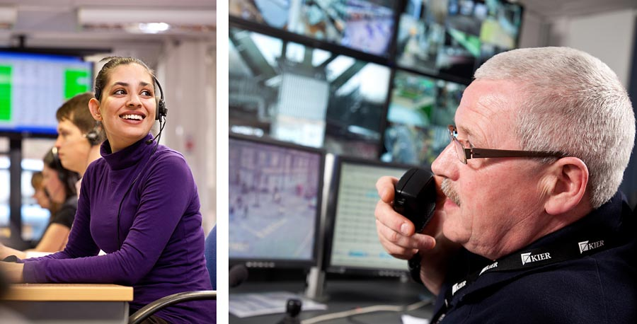 Two images. The first is a woman on the phone in a call centre and the second is a man on a walkie talkie overseeing surveilance screens.