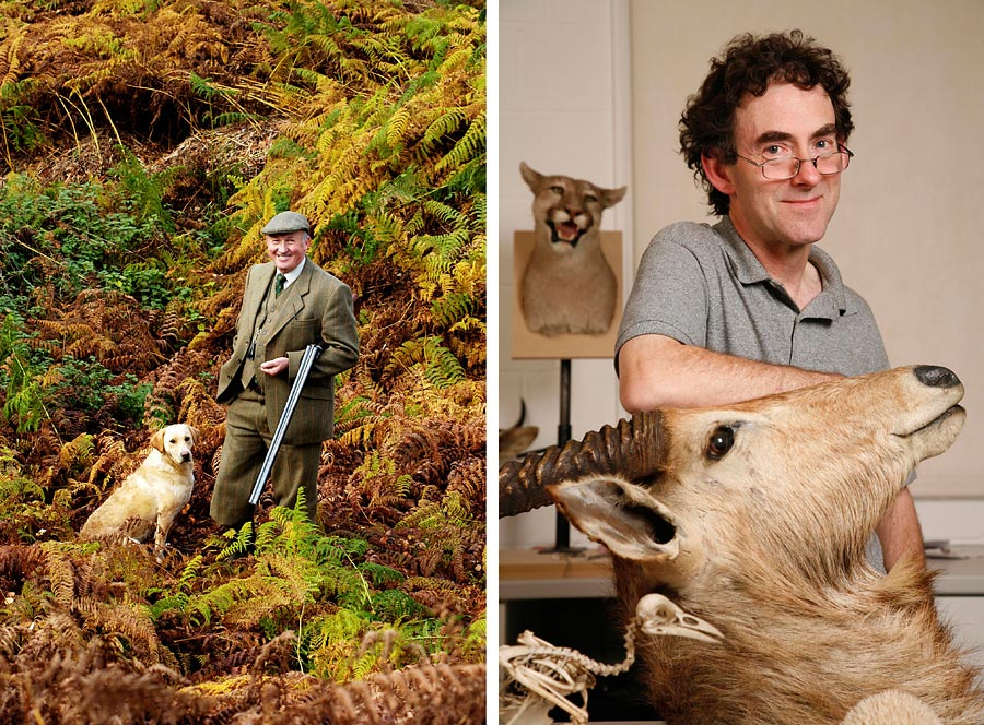 Two images. One of left is a portrait of a game keeper in woodland and the second is a taxidermist surrounded by stuffed animals.