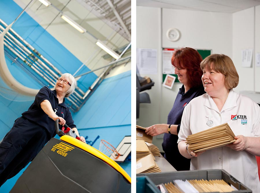 Two images, the first is of a woman pushing a cleaning machine, the second is a postal worker sorting post.