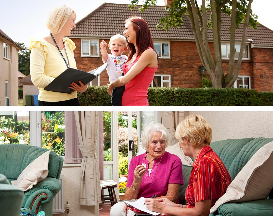 Two images of staff talking with residents of the A1 housing scheme.