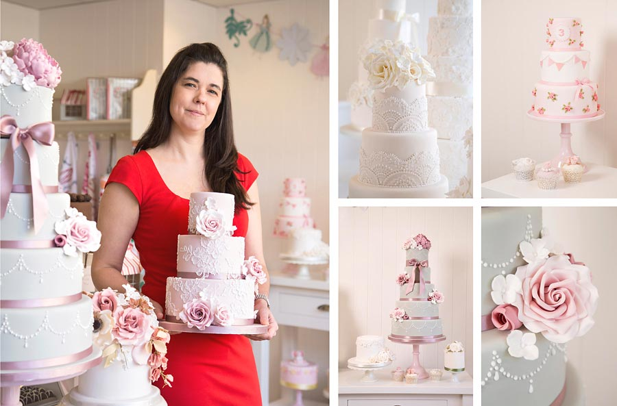One main portrait of a woman who owns the cake shop and four small images of the cake decorations.