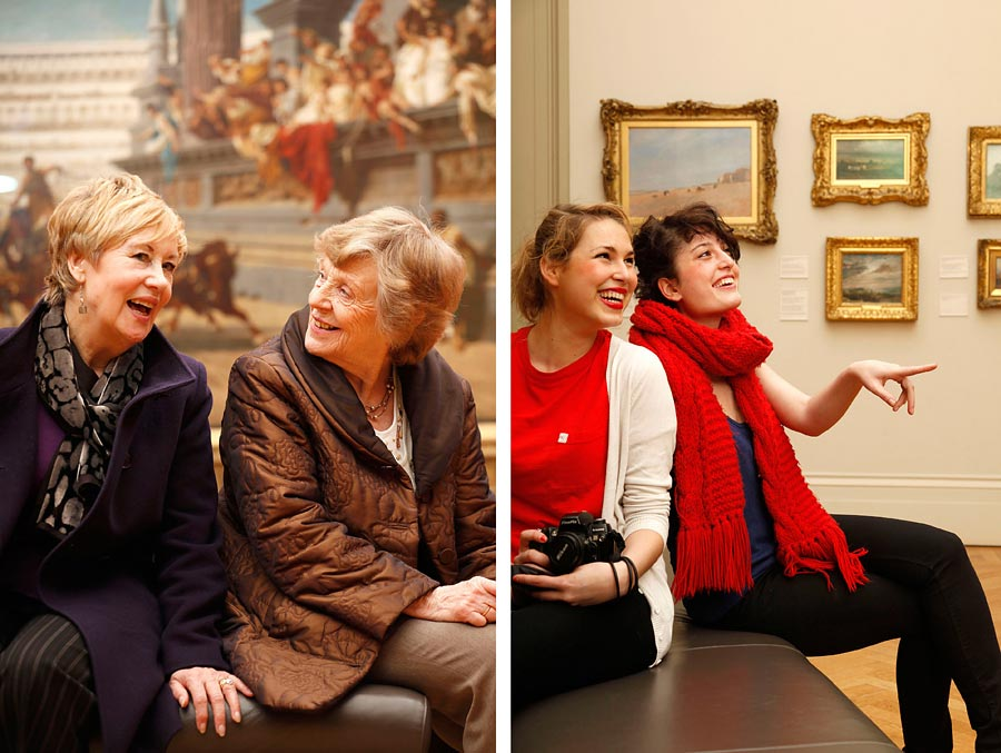 Two images at Manchester Art gallery of people looking at art.