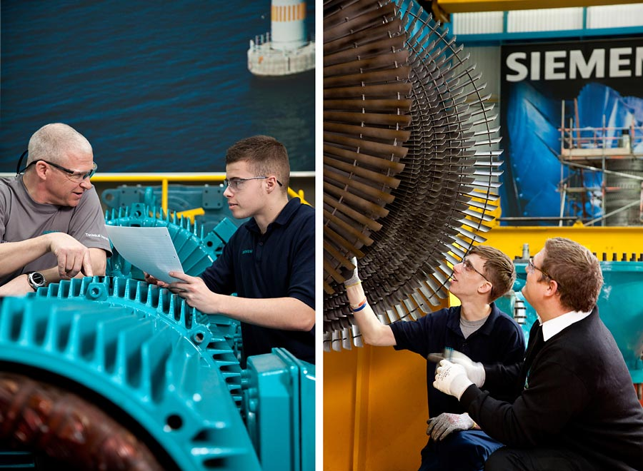Two images. Both are an older man teaching an apprentice in an industrail situation.