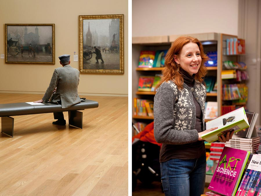 Two images at Manchester Art gallery of people looking at art and in the gift shop.