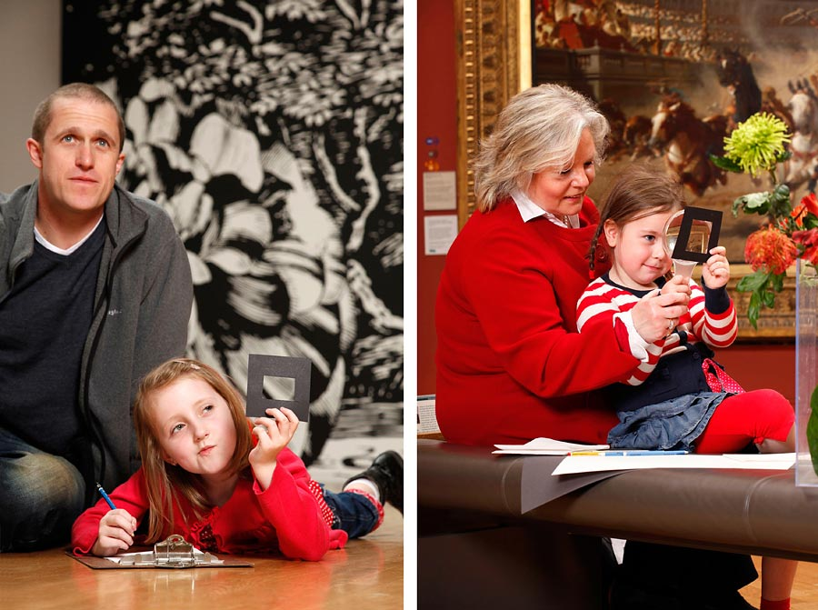 Two images at Manchester Art gallery of children and adults looking at art.