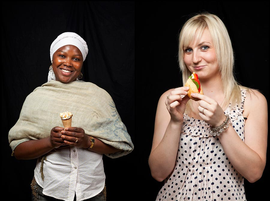 Two images of people eating food against a black background.