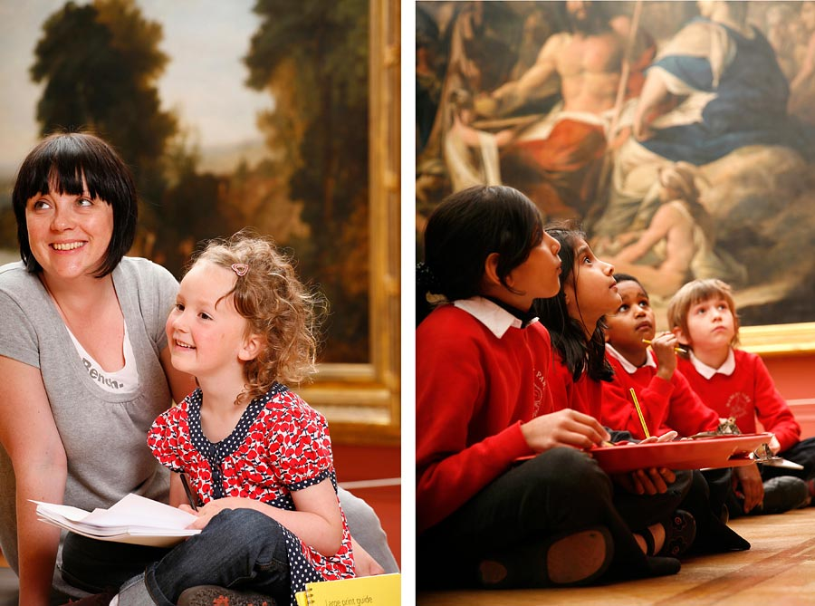 Two images at Manchester Art gallery of children and an adult looking at art.