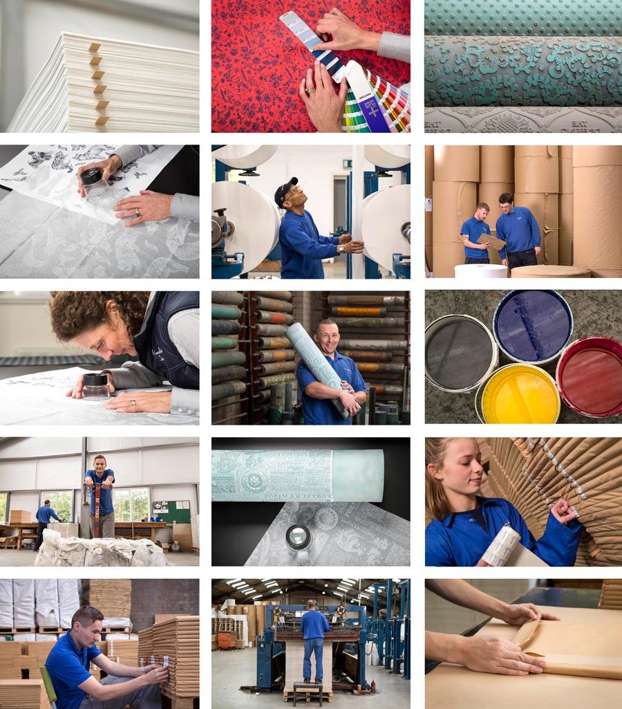 A montage of images (twelve) depicting life in a tissue paper factory.