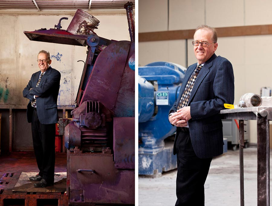 Two images. The one on the left is a man against industrail machinery and the second is the same man leant against a table.