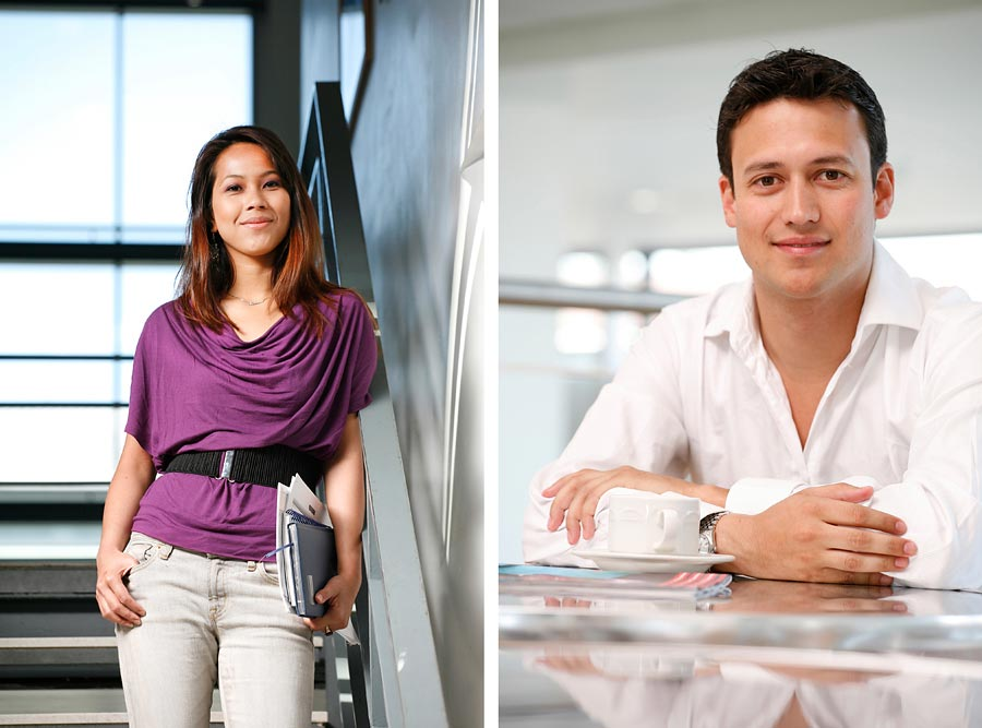 Two images. The one on the left is a female student leaning against the railings of stairs and the one on the right is a man wearing a white shirt leaning against a shiney table.