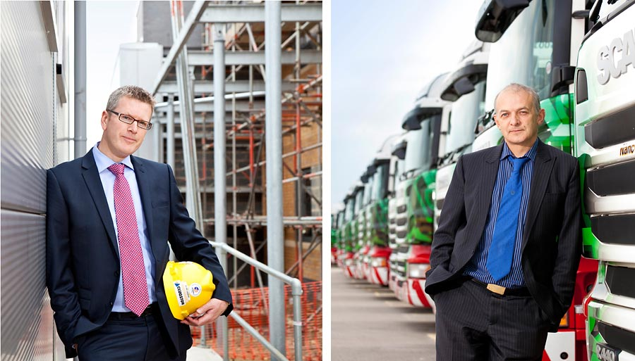 Two images. The one on the left is a man posed with a hard hat. The background is a construction site. The second is a man leaning against a fleet of lorries.