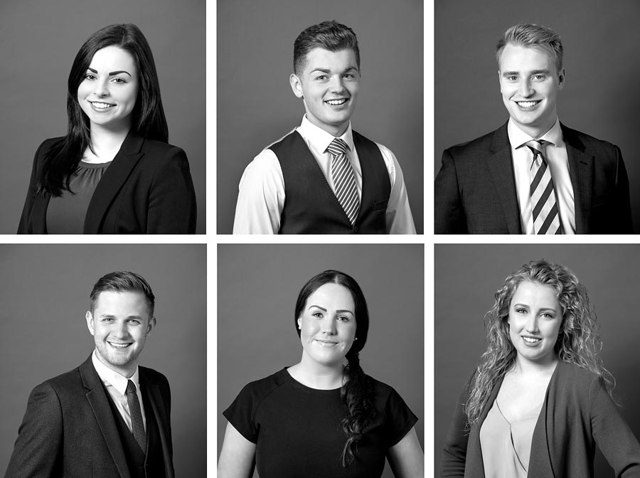 A montage of 6 images. all individual corporate head shots in black and white.