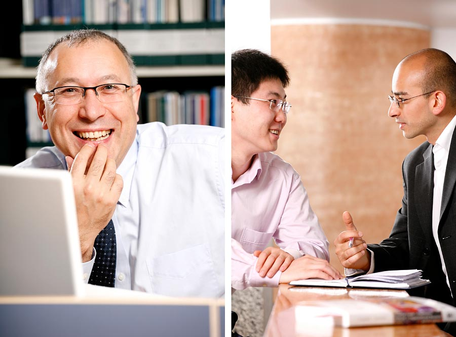 Two images. The one ont eh left is a man smiling to camera whilst working on a lap top. the second is two men in a university environment chatting to each other.