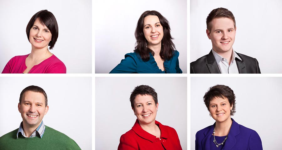 A montage of six images. All individual head shots of business people wearing bright colours.