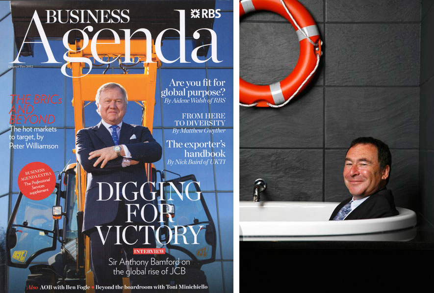 Two images. Teh one on the left features the front cover of a magazine and is a man posed witha  jcb. The second is of a business man in a suit sat in a hotel bath with a life boy hung on the wall.