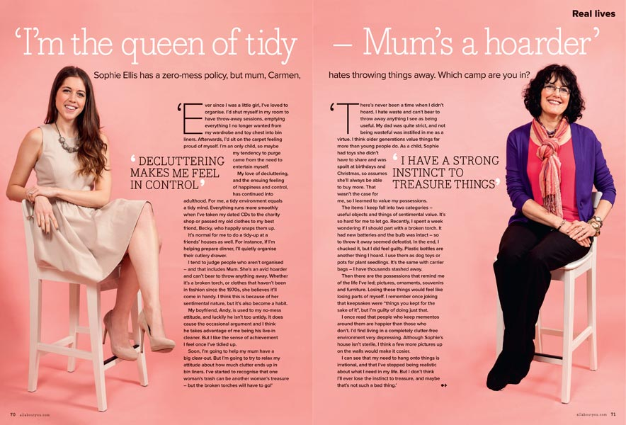 a layout of a dps in a magazine of a mother and a daughter sat on stools with a pink background.