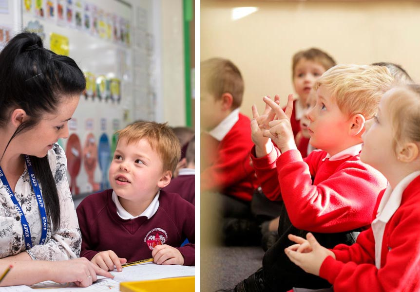 two images of children at school.