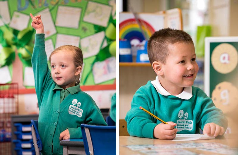 two images of primary children in a class room setting.