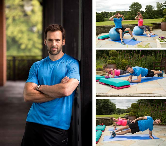 Portrait of Sylvain Longchambon, fitness instructer and dancing on ice star alongside images of him teaching a journalist fitness exercises.