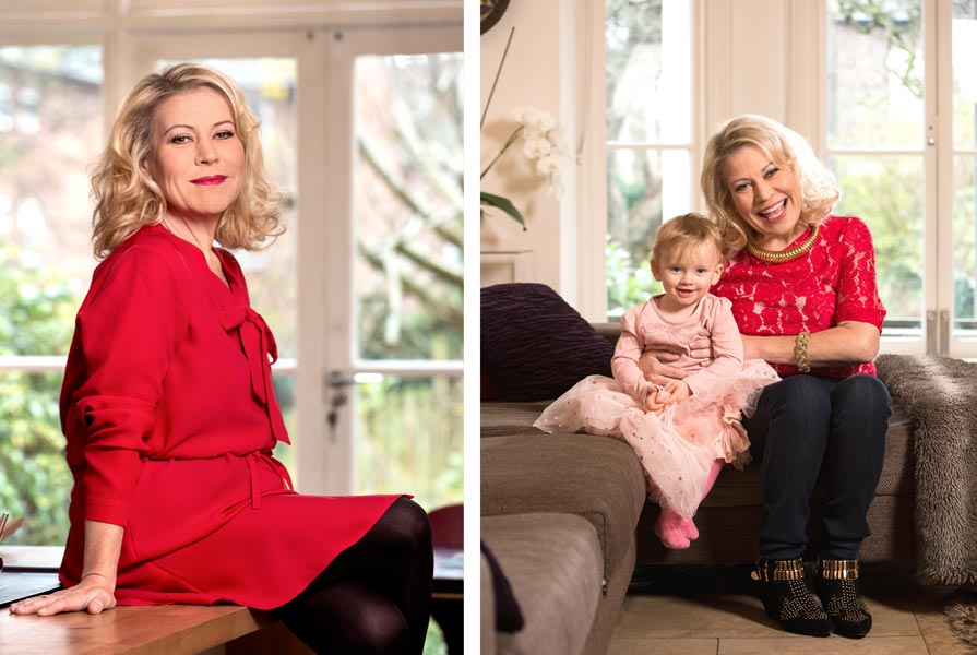 Editorial portraits of actress Tina Malone wearing a red dress with her daughter.